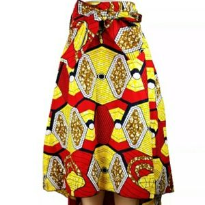 Red and yellow asymmetrical high/low skirt